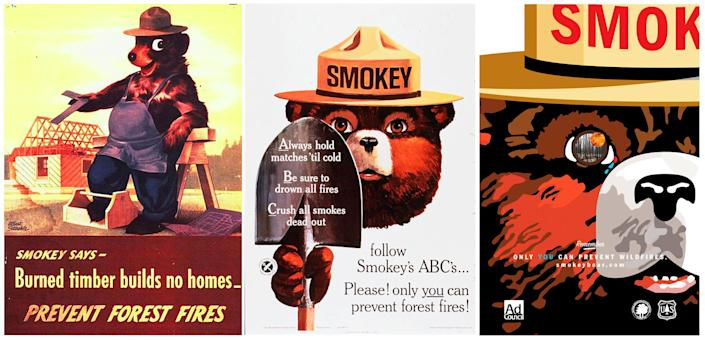 Smokey Bear is pictured in a series of U.S. Forest Service posters (from left: 1945, 1966 and 2007). (Photo: Handout/Reuters)