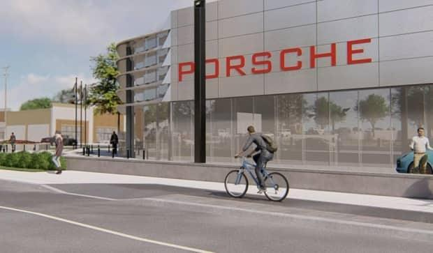 Mark Motors plans to replace two existing car dealerships at the corner of Montreal Road and St. Laurent Boulevard with a new Porsche dealership. (City of Ottawa/Q9 Planning and Design - image credit)