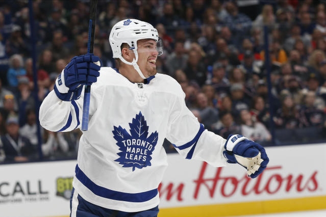 Toronto Maple Leafs' Andreas Johnsson, of Sweden, celebrates the team's goal against the Columbus Blue Jackets during the first period of an NHL hockey game Friday, Oct. 4, 2019, in Columbus, Ohio. (AP Photo/Jay LaPrete)