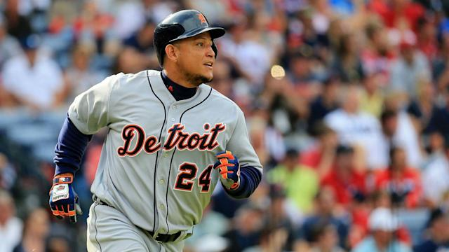 Miguel Cabrera slipped rounding first base in the Tigers' matchup with the White Sox Thursday, and the fall did not treat him well.