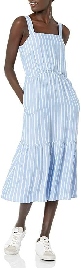 <p>You can dress up or dress down the <span>Amazon Essentials Women's Fluid Twill Tiered Midi Summer Dress</span> ($28). It's a figure flattering dress with a zipper closure. If you're not a fan of the blue and white stripped pattern, don't worry the dress comes in a variety of prints and colors.</p>