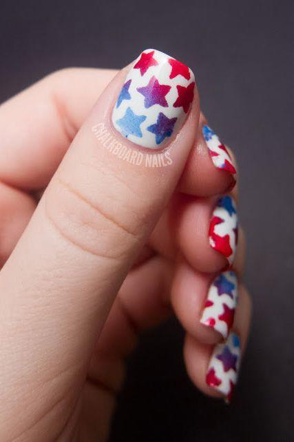 """<p>Blue-to-red ombré stars are basically Independence Day in a nutshell. </p><p><a class=""""link rapid-noclick-resp"""" href=""""https://www.amazon.com/Whats-Up-Nails-Northern-Christmas/dp/B076V3RP1F/?tag=syn-yahoo-20&ascsubtag=%5Bartid%7C10055.g.1278%5Bsrc%7Cyahoo-us"""" rel=""""nofollow noopener"""" target=""""_blank"""" data-ylk=""""slk:SHOP STAR STENCILS"""">SHOP STAR STENCILS</a></p><p><a href=""""http://www.chalkboardnails.com/2012/07/stenciled-star-nails-tutorial.html"""" rel=""""nofollow noopener"""" target=""""_blank"""" data-ylk=""""slk:See more on Chalkboard Nails »"""" class=""""link rapid-noclick-resp""""><em>See more on Chalkboard Nails »</em></a></p>"""