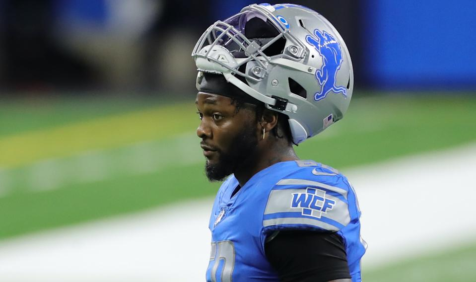 DETROIT, MI - SEPTEMBER 13: Jamie Collins #58 of the Detroit Lions walks off the field after being ejected for a personal foul during the first quarter against the Chicago Bears at Ford Field on September 13, 2020 in Detroit, Michigan. Chicago defeated Detroit 27-23. (Photo by Leon Halip/Getty Images)