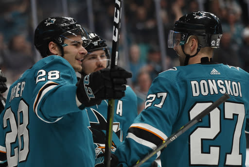 San Jose Sharks' Timo Meier (28) celebrates his goal with Joonas Donskoi (27) against the Calgary Flames in the first period of an NHL hockey game in San Jose, Calif., Sunday, March 31, 2019. (AP Photo/Josie Lepe)