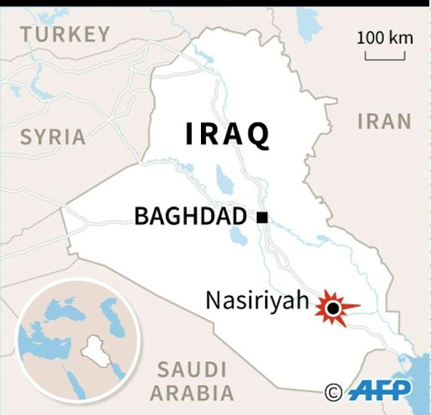 Graphic locating Nasiriyah, where dozens of people -- including Iranians -- were killed in two attacks on Thursday