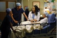 """<p>At first, Meredith was just shot sitting down or from the neck up, but then the writers found a <a href=""""http://nypost.com/2013/10/31/how-tv-shows-tried-to-hide-stars-pregnancies/"""" rel=""""nofollow noopener"""" target=""""_blank"""" data-ylk=""""slk:way to get around the pregnancy"""" class=""""link rapid-noclick-resp"""">way to get around the pregnancy</a> by writing in a liver surgery. </p>"""