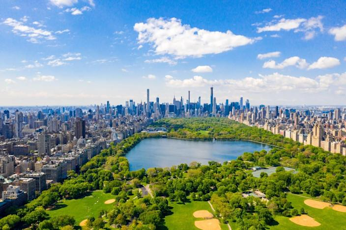 Aerial view of the Central park in New York with golf fields