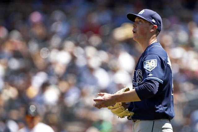 Tampa Bay Rays pitcher Ryan Yarbrough reacts during the third inning of a baseball game against the New York Yankees on Saturday, June 16, 2018, in New York. (AP Photo/Adam Hunger)