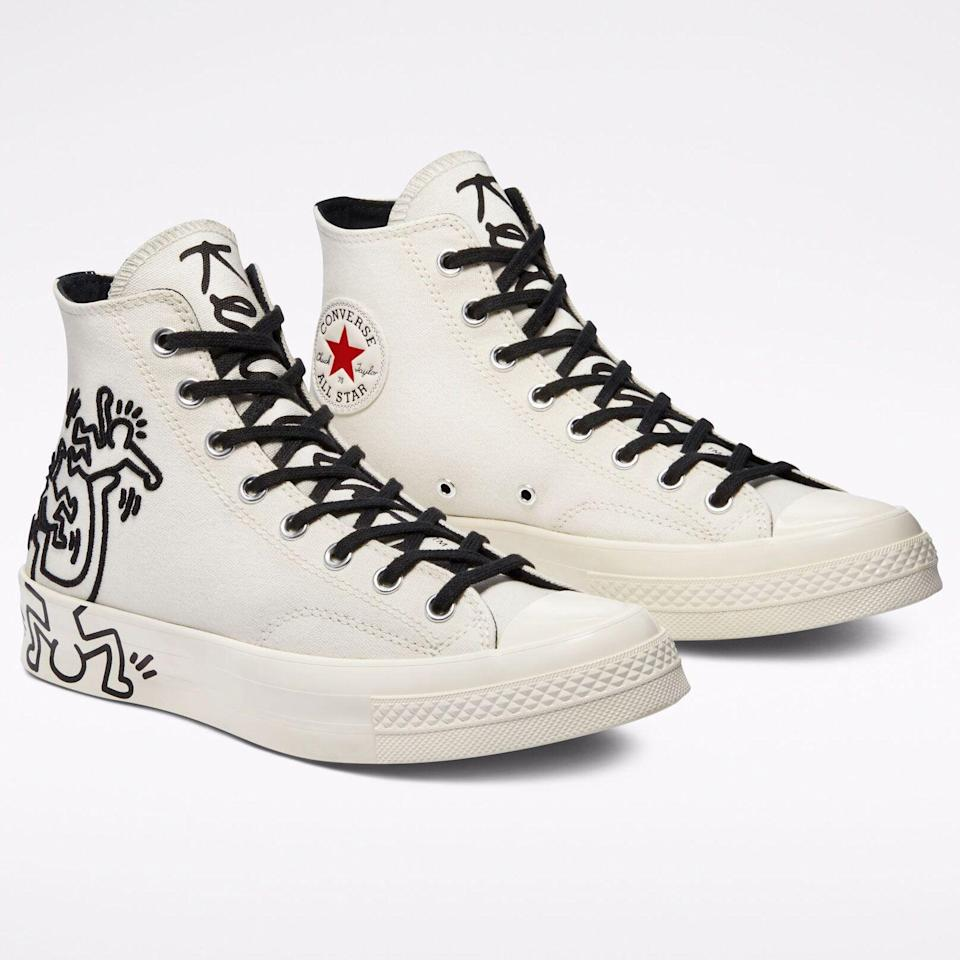 """<p><strong>Converse x Keith Haring</strong></p><p>converse.com</p><p><strong>$110.00</strong></p><p><a href=""""https://go.redirectingat.com?id=74968X1596630&url=https%3A%2F%2Fwww.converse.com%2Fshop%2Fp%2Fconverse-x-keith-haring-chuck-70-unisex-high-top-shoe%2F171858C.html&sref=https%3A%2F%2Fwww.esquire.com%2Fstyle%2Fmens-fashion%2Fg36434127%2Fbest-new-menswear-may-14-2021%2F"""" rel=""""nofollow noopener"""" target=""""_blank"""" data-ylk=""""slk:Shop Now"""" class=""""link rapid-noclick-resp"""">Shop Now</a></p><p>As it turns out, Converse's Chuck 70 is a perfect (ahem) canvas for Haring's artwork.</p>"""