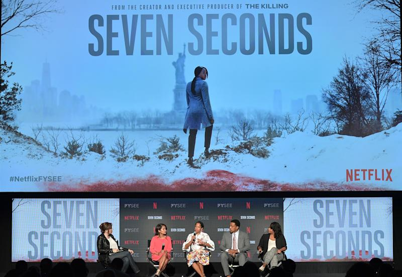 """LOS ANGELES, CA - MAY 22: (L-R) Lorraine Ali, Veena Sud, Regina King, Russell Hornsby, and Kristi Henderson speak onstage at the """"Seven Seconds"""" panel at Netflix FYSEE on May 22, 2018 in Los Angeles, California. (Photo by Neilson Barnard/Getty Images for Netflix)"""