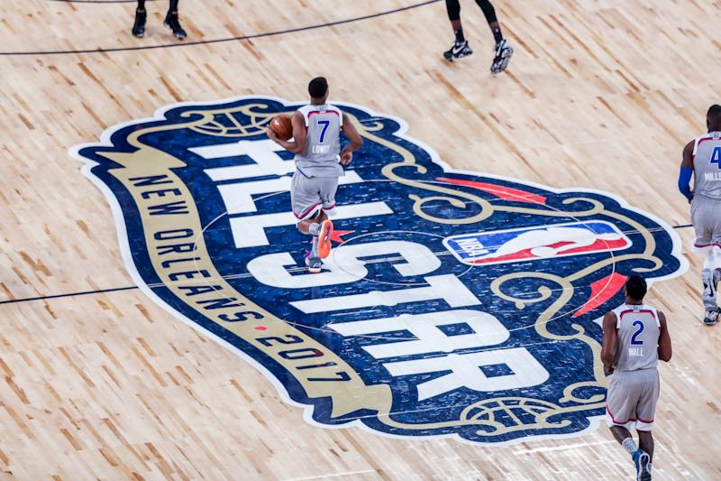 NEW ORLEANS, LA - FEBRUARY 19: NBA All-Star logo at mid court during the NBA All-Star Game between the Eastern Conference and the Western Conference on February 19, 2017, at Smoothie King Center in New Orleans, LA. Western Conference won 192-182.. (Photo by Stephen Lew/Icon Sportswire via Getty Images)