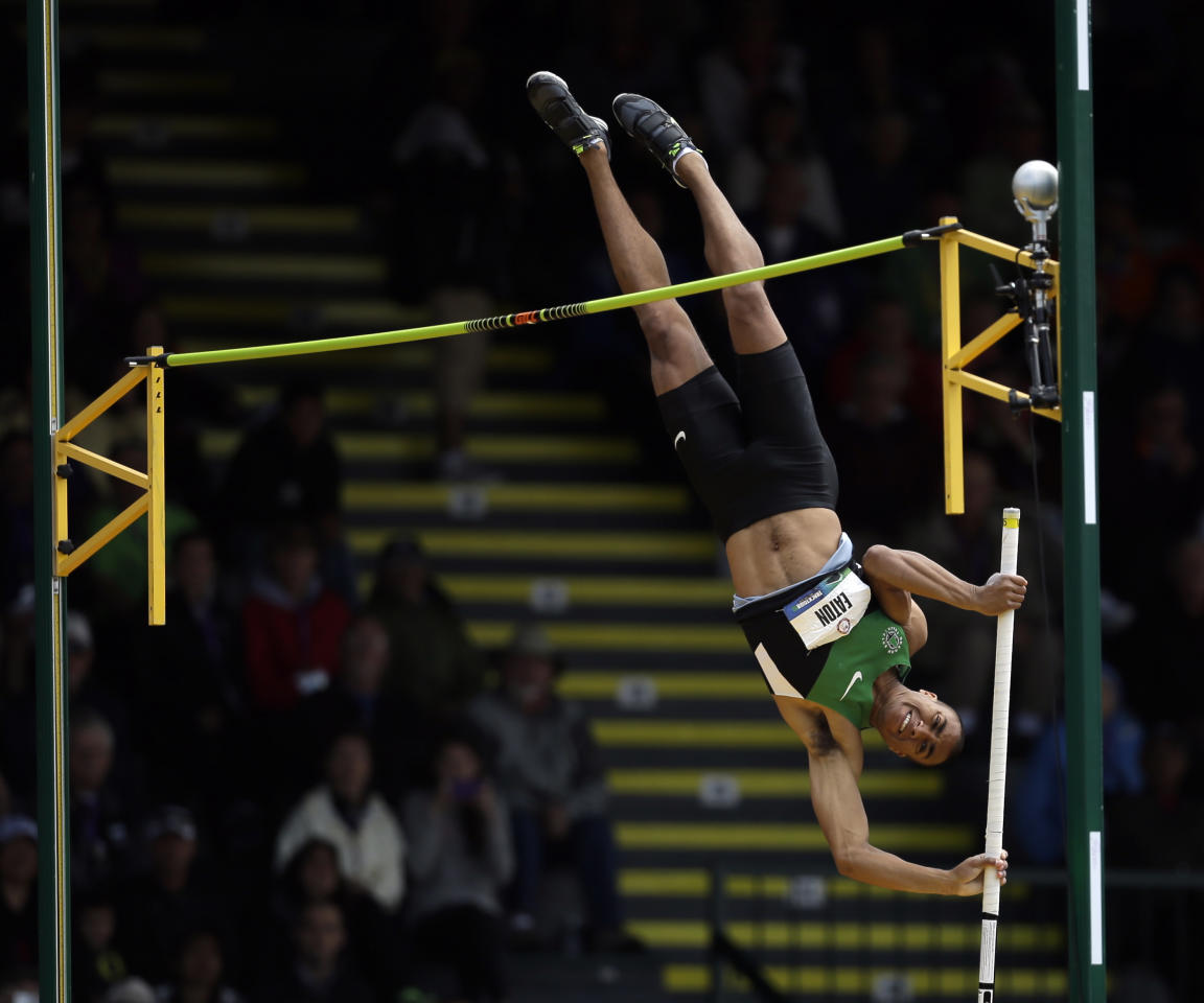 Ashton Eaton pole vaults during the decathlon competition at the U.S. Olympic Track and Field Trials Saturday, June 23, 2012, in Eugene, Ore. (AP Photo/Matt Slocum)
