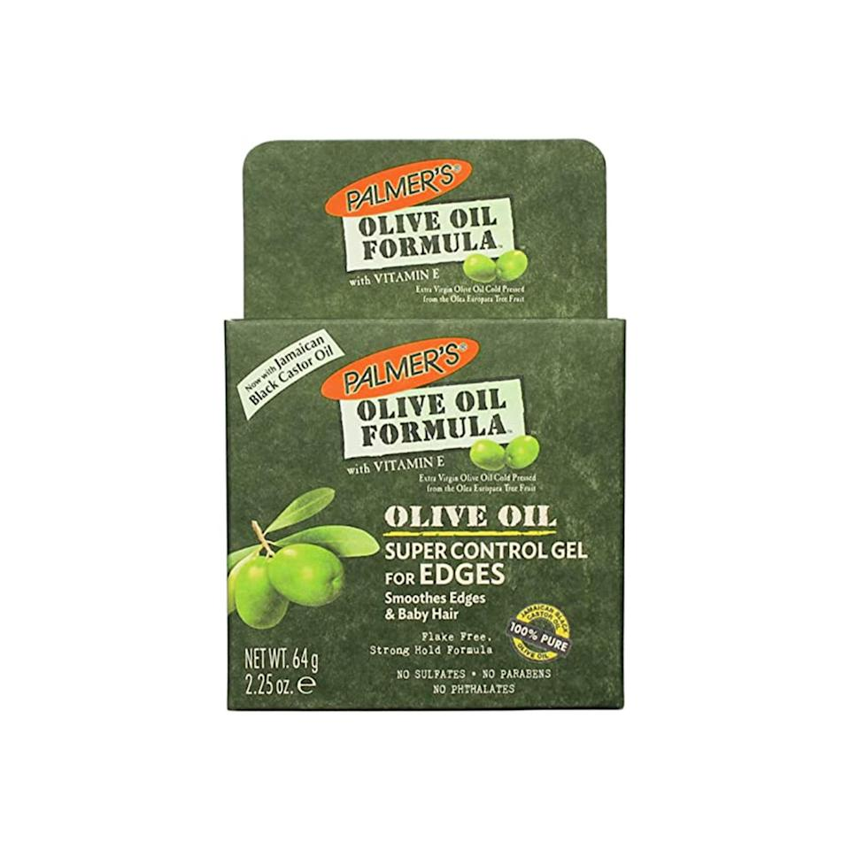 """<p>A mainstay at local beauty supply stores, the classic Palmer's Olive Oil Formula Super Control Edge Hold Hair Gel is infused with <a href=""""https://www.allure.com/story/vitamin-e-skin-care?mbid=synd_yahoo_rss"""" rel=""""nofollow noopener"""" target=""""_blank"""" data-ylk=""""slk:vitamin E"""" class=""""link rapid-noclick-resp"""">vitamin E</a> and antioxidant-rich olive oil, which strengthen brittle strands. Not only will your edges be sleek, but they'll also be getting some extra TLC.</p> <p><strong>$4</strong> (<a href=""""https://goto.walmart.com/c/1324868/565706/9383?subId1=BestEdgeControlProducts&veh=aff&sourceid=imp_000011112222333344&u=https%3A%2F%2Fwww.walmart.com%2Fip%2FPalmer-s-Olive-Oil-Formula-Super-Control-Edge-Hold-Hair-Gel-with-Vitamin-E-2-25oz%2F16664911"""" rel=""""nofollow noopener"""" target=""""_blank"""" data-ylk=""""slk:Shop Now"""" class=""""link rapid-noclick-resp"""">Shop Now</a>)</p>"""