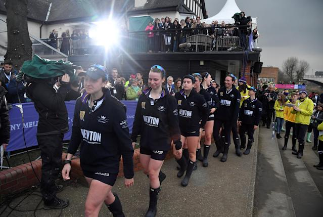 Rowing - 2018 Oxford University vs Cambridge University Boat Race - London, Britain - March 24, 2018 Oxford women's collect their runner up medals after the boat race REUTERS/Toby Melville