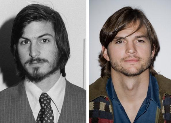 (FILE PHOTO) In this composite image a comparison has been made between Steve Jobs (L) and actor Ashton Kutcher. Ashton Kutcher will reportedly play Steve Jobs in a film biopic directed by Joshua Michael Stern. ***LEFT IMAGE*** 1977:  Portrait of American businessman and engineer Steve Jobs, co-founder of Apple Computer Inc, at the first West Coast Computer Faire, where the Apple II computer was debuted, in Brooks Hall, San Francisco, California, April 16th or 17th, 1977. (Photo by Tom Munnecke/Getty Images)***RIGHT IMAGE*** PARIS, FRANCE - FEBRUARY 09:  Actor Ashton Kutcher attends the 'Sex Friends' Photocall on February 9, 2011 in Paris, France.  (Photo by Francois Durand/Getty Images)