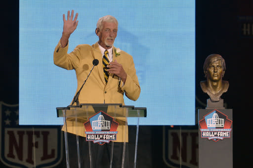 Hall of Fame inductee Ray Guy speaks during the 2014 Pro Football Hall of Fame Enshrinement Ceremony at the Pro Football Hall of Fame Saturday, Aug 2, 2014 in Canton, Ohio. (AP Photo/David Richard)
