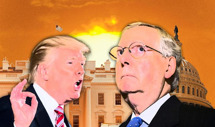 President Donald Trump and Sen Mitch McConnell. (Photo illustration: Yahoo News; photos: AP[2], Getty Images [2])