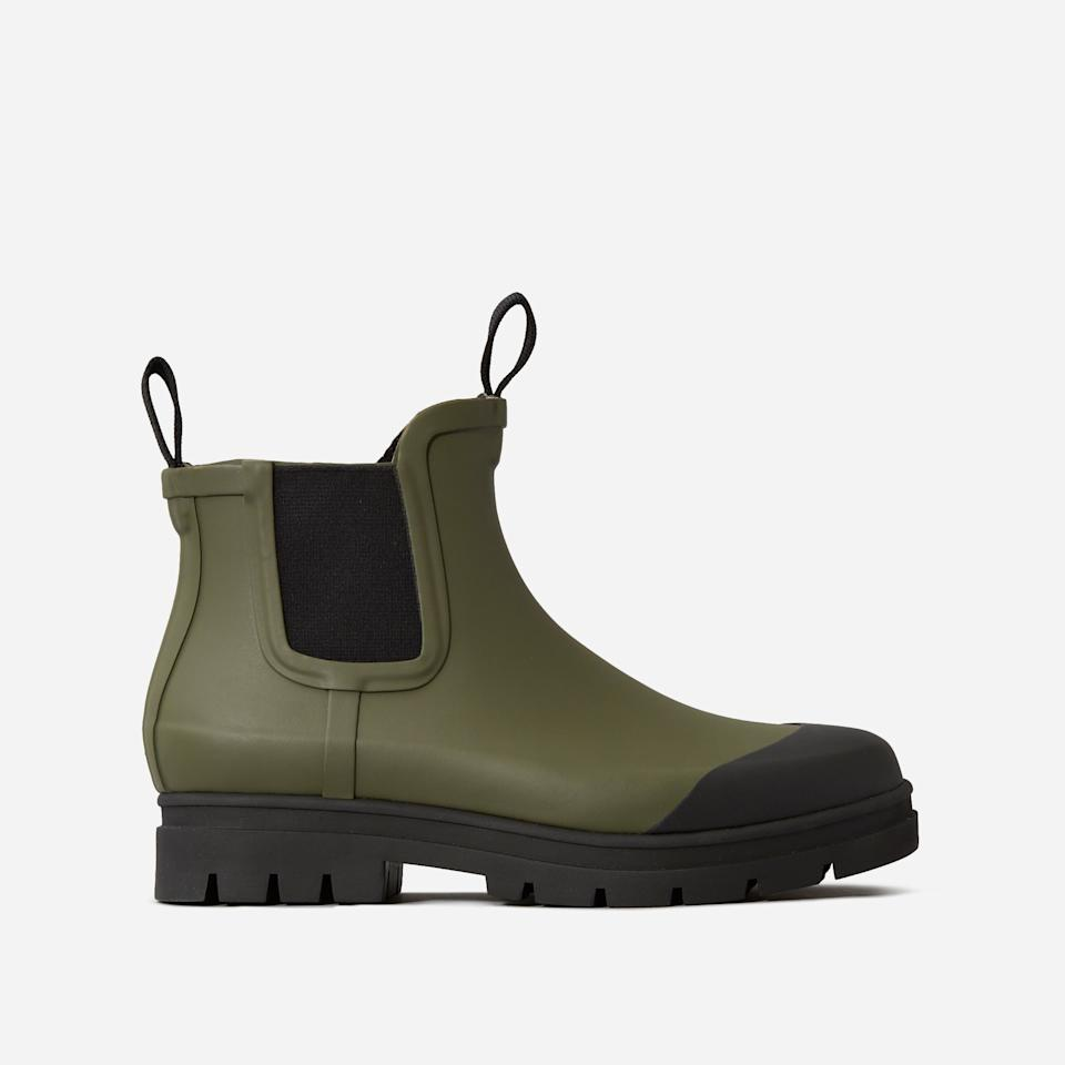 """<h3><a href=""""https://www.everlane.com/products/womens-rain-boot-surplus?collection=womens-boots"""" rel=""""nofollow noopener"""" target=""""_blank"""" data-ylk=""""slk:The Rain Boot"""" class=""""link rapid-noclick-resp"""">The Rain Boot<br></a></h3><br>A waterproof boot with just enough military-inspired details to make it tough, this rain-repellent style will keep you feeling put-together even when you're a little drenched. <br><br><strong>Everlane</strong> The Rain Boot, $, available at <a href=""""https://go.skimresources.com/?id=30283X879131&url=https%3A%2F%2Fwww.everlane.com%2Fproducts%2Fwomens-rain-boot-surplus%3Fcollection%3Dwomens-boots"""" rel=""""nofollow noopener"""" target=""""_blank"""" data-ylk=""""slk:Everlane"""" class=""""link rapid-noclick-resp"""">Everlane</a>"""
