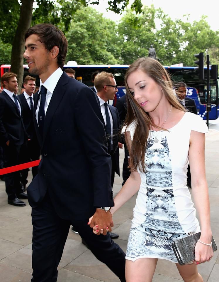 LONDON, ENGLAND - JULY 16:  Ashton Agar of Australia and his girlfriend Madi Hay arrive for the Australian Cricket Team visit to the Australian High Commision on July 16, 2013 in London, England.  (Photo by Ryan Pierse/Getty Images)