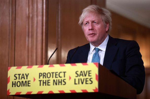 PHOTO: Britain's Prime Minister Boris Johnson speaks during a news conference in response to the ongoing situation with the coronavirus pandemic, inside 10 Downing Street in London, Tuesday, Jan. 5, 2021. (Hannah McKay/Pool via AP)