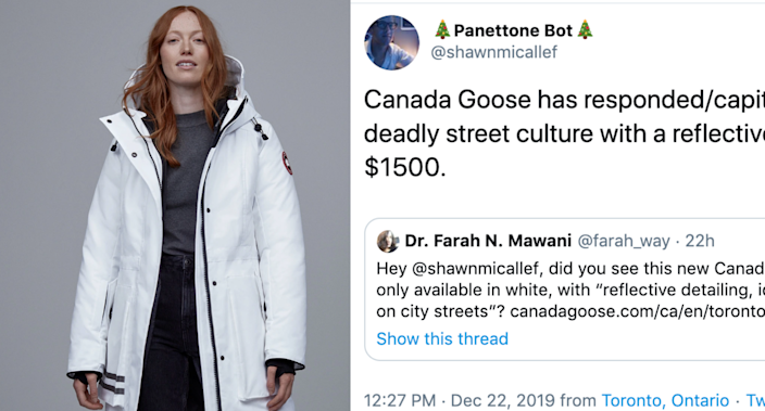 Images via Canada Goose and Twitter/@shawnmicallef and @farah_way
