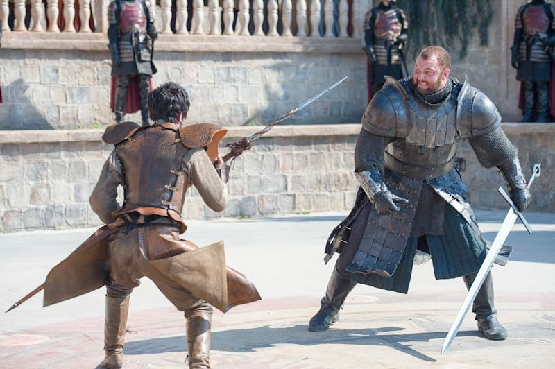 Pedro Pascal and Hafþór Júlíus Björnsson, The Red Viper and The Mountain, do battle in Game of Thrones (HBO)