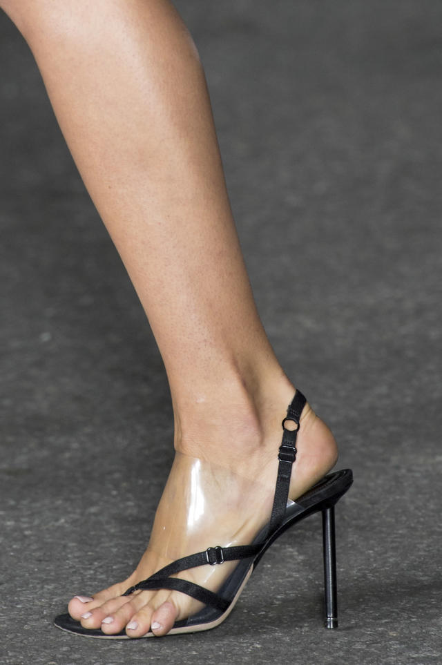 <p><i>Bra straps and clear plastic make up this SS18 Alexander Wang heel. (Photo: ImaxTree) </i></p>
