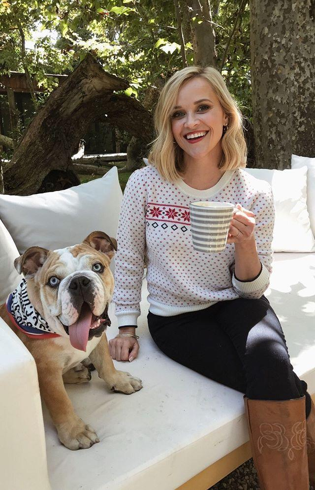 """<p>Reese loves to post videos and pics on Instagram of her adorable dogs.</p><p><a href=""""https://www.instagram.com/p/B6YesLOgP2v/"""" rel=""""nofollow noopener"""" target=""""_blank"""" data-ylk=""""slk:See the original post on Instagram"""" class=""""link rapid-noclick-resp"""">See the original post on Instagram</a></p>"""