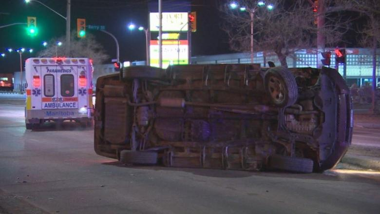 Truck rolled over in Winnipeg's St. James area