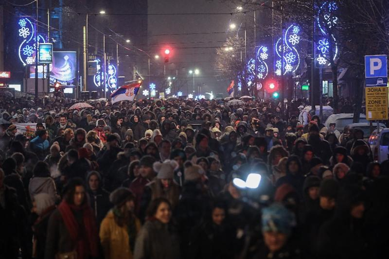 Thousands of people take part in a protest against the Serbian government in Belgrade, Serbia, on January 5, 2019