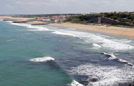 An aerial view shows sea walls on the beach that protects sand dunes from erosion along the Atlantic Ocean coast in Anglet, southwestern France