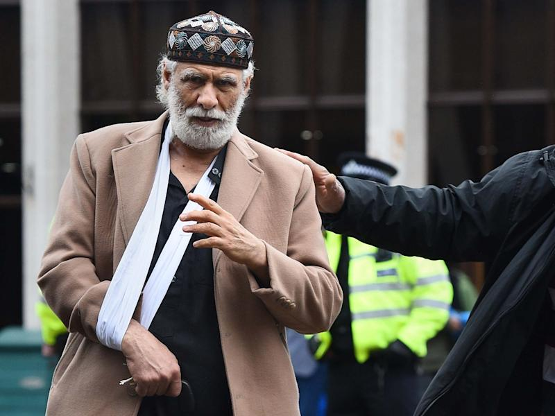 Prayer leader Raafat Maglad, who was stabbed in the neck by an attacker at London Central Mosque, said he forgave his attacker as he returned for prayers less than 24 hours later, 21 February 2020: Kirsty O'Connor/PA
