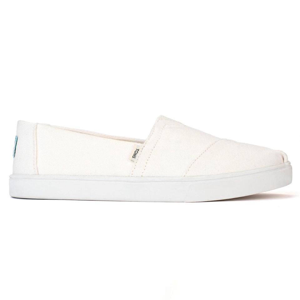 """These canvas slips-ons are just like the original Toms but better. While the upper material should look familiar to you, the sole is made of super-durable rubber, which means they'll last a lot longer than the pair you ran into the ground in college. Sounds good to us! $55, Toms. <a href=""""https://www.toms.com/us/women/white-canvas-womens-cupsole-alpargatas/10015864.html"""" rel=""""nofollow noopener"""" target=""""_blank"""" data-ylk=""""slk:Get it now!"""" class=""""link rapid-noclick-resp"""">Get it now!</a>"""