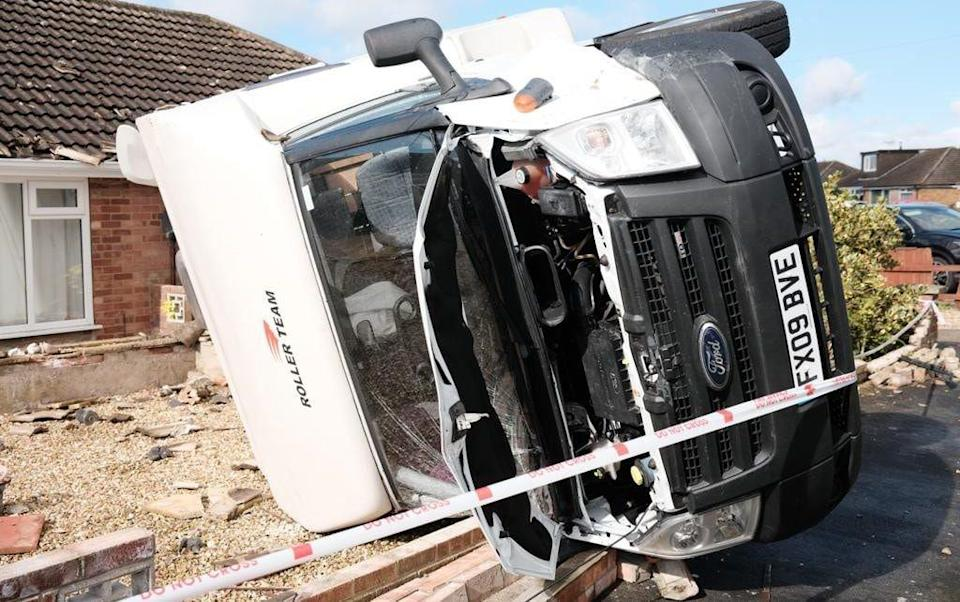 A motorhome was flipped on its side and crashed through the perimeter wall outside a home near Humberton - Sadie Russell/MEN MEDIA