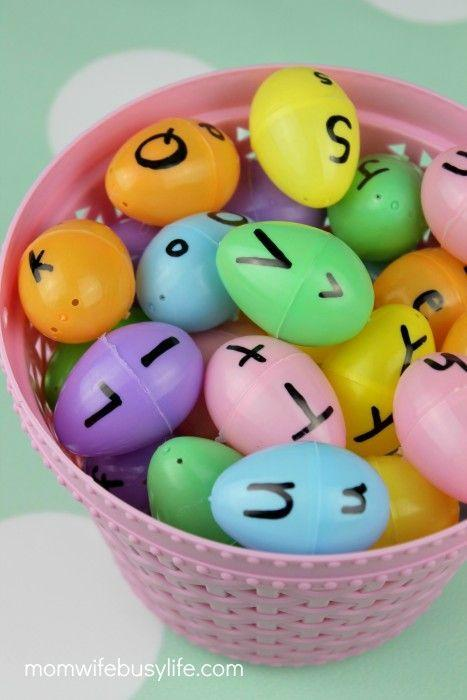 "<p>This Easter game gets points for being fun <em>and </em>educational. </p><p><strong>Get the tutorial at <a href=""https://momwifebusylife.com/easter-egg-letter-matching-game"" rel=""nofollow noopener"" target=""_blank"" data-ylk=""slk:Mom. Wife. Busy Life."" class=""link rapid-noclick-resp"">Mom. Wife. Busy Life. </a></strong></p>"