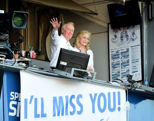 Vin Scully had the perfect sendoff during his final game at Dodgers Stadium. (Getty Images/Harry How)