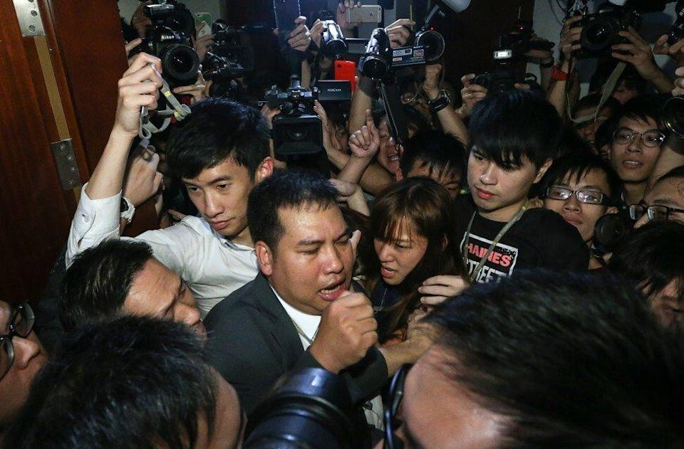 There were chaotic scenes in Legco in 2016 when Baggio Leung and another lawmaker stormed a meeting. Photo: Sam Tsang