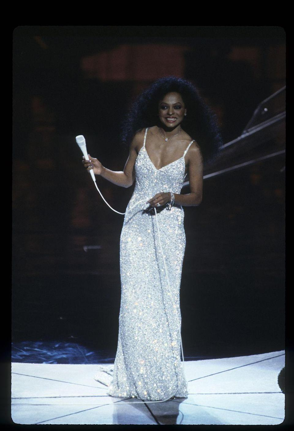 "<p>Diana's sparkly number dazzled the audience during her performance of ""I Just Called to Say I Love You"" at the ceremony. </p>"