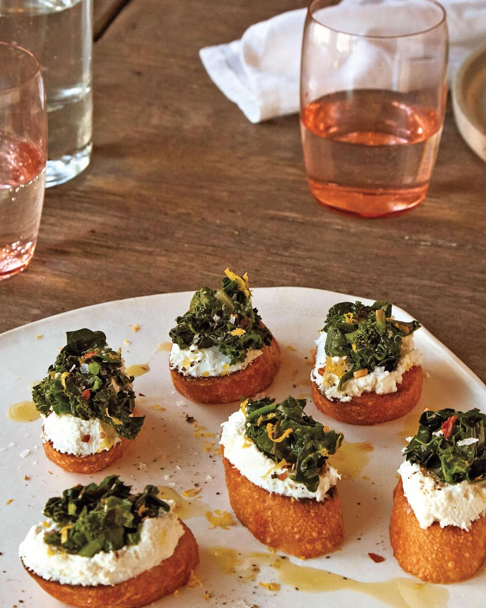 "Sometimes, the best appetizers are just simple combinations of everything good. <a href=""https://www.epicurious.com/recipes/food/views/broiled-goat-cheese-toasts-with-marinated-greens?mbid=synd_yahoo_rss"" rel=""nofollow noopener"" target=""_blank"" data-ylk=""slk:See recipe."" class=""link rapid-noclick-resp"">See recipe.</a>"