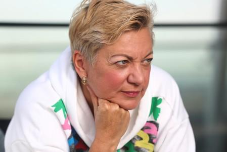 Valeria Gontareva, former chair of the National Bank of Ukraine, poses for a photograph following an interview in London