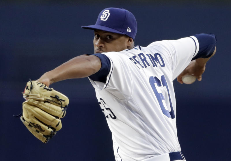 San Diego Padres starting pitcher Luis Perdomo works against a Los Angeles Dodgers batter during the first inning of a baseball game Wednesday, April 18, 2018, in San Diego. (AP Photo/Gregory Bull)