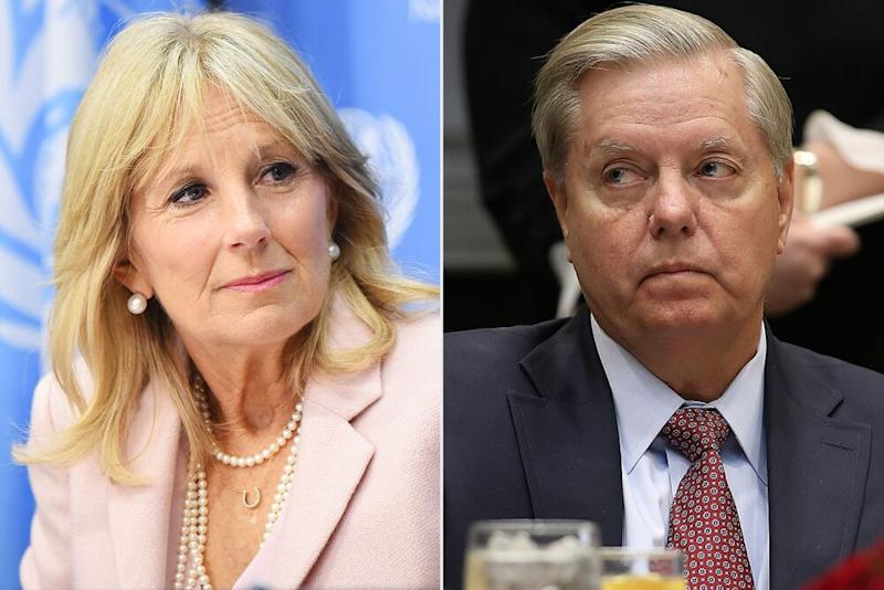 From left: Jill Biden and Sen. Lindsey Graham | Michael Loccisano/Getty; Win McNamee/Getty