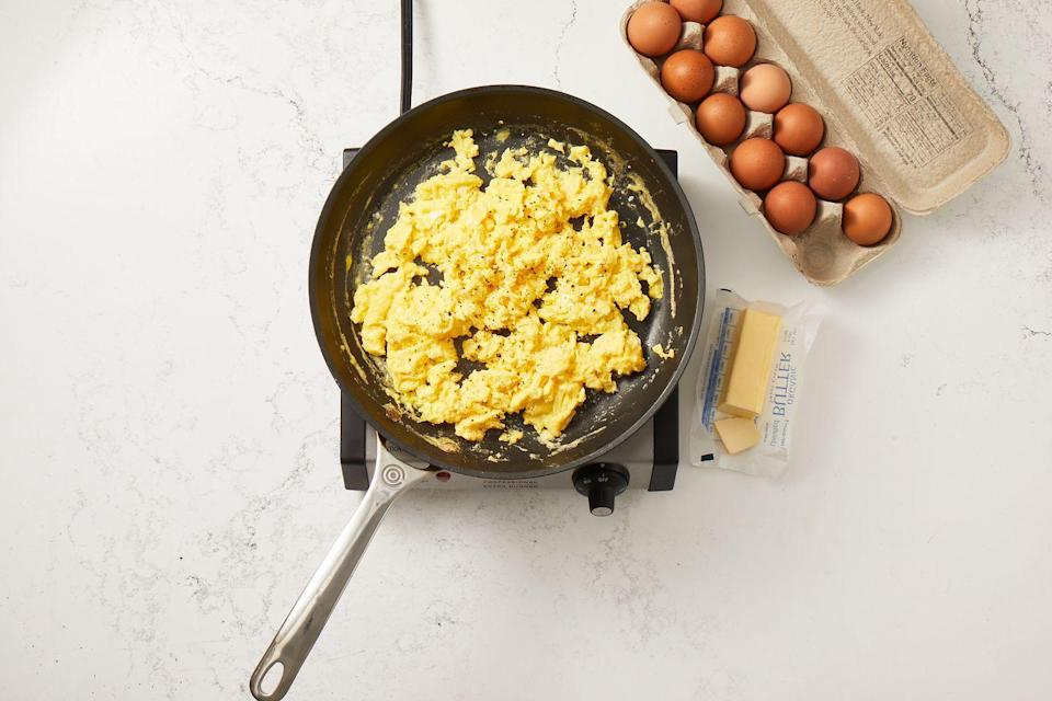 """<p>Our secret to tasty, perfect scrambled eggs every time? A rubber spatula — it's all about the folding technique <a href=""""https://www.goodhousekeeping.com/cooking-tools/cookware-reviews/g799/best-picks-nonstick-cookware/"""" rel=""""nofollow noopener"""" target=""""_blank"""" data-ylk=""""slk:in a nonstick pan"""" class=""""link rapid-noclick-resp"""">in a nonstick pan</a>, over a low, simmering heat.</p><p><em><a href=""""https://www.goodhousekeeping.com/food-recipes/easy/a35092147/how-to-make-scrambled-eggs-recipe/"""" rel=""""nofollow noopener"""" target=""""_blank"""" data-ylk=""""slk:Get the recipe for our Easiest Scrambled Eggs »"""" class=""""link rapid-noclick-resp"""">Get the recipe for our Easiest Scrambled Eggs »</a></em></p>"""