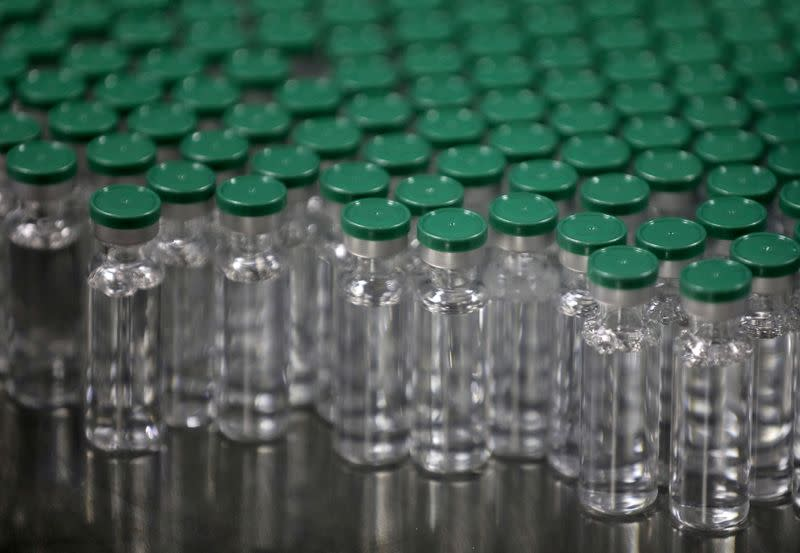 FILE PHOTO: Vials of AstraZeneca's COVISHIELD, coronavirus disease (COVID-19) vaccine, are seen before they are packaged inside a lab at Serum Institute of India, Pune