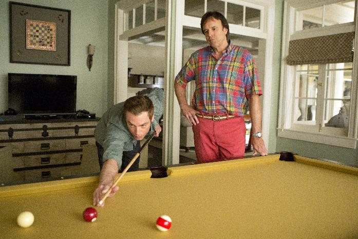 """This undated image released by Showtime shows Kevin Nealon as Doug Wilson, right, and Justin Kirk as Andy Botwin during a scene from the eighth season of """"Weeds."""" Nealon comes across as a mellow guy, which makes the title of his new Showtime comedy special a proper fit. """"Kevin Nealon: Whelmed But Not Overly,"""" debuting 10:30 p.m EDT Saturday, Aug. 4, 2012, is the actor-comedian's examination of his phobias that range from inoculations to cell phones to chimpanzees. (AP Photo/Showtime, Michael Desmond)"""