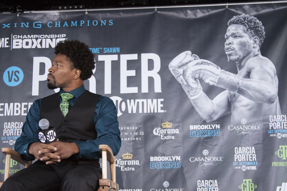 Shawn Porter speaks to the media on July 30 at a news conference before his upcoming welterweight title fight against Danny Garcia. (Getty Images)