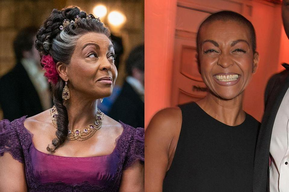 <p>Adjoa Andoh, a celebrated stage actress known to TV and film audiences for her turns in <em>Invictus</em> and <em>Silent Witness</em>, plays the lightly mischievous Lady Danbury, a mother figure to the Duke of Hastings.</p>