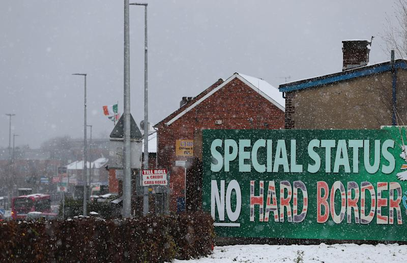 <strong>A Sinn Fein billboard calling for 'No Hard Border' on display in Belfast.</strong>