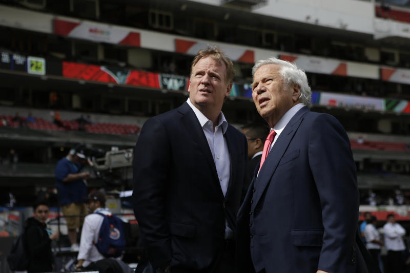 NFL commissioner Roger Goodell shares a moment in Mexico City with Patriots owner Robert Kraft. (AP)