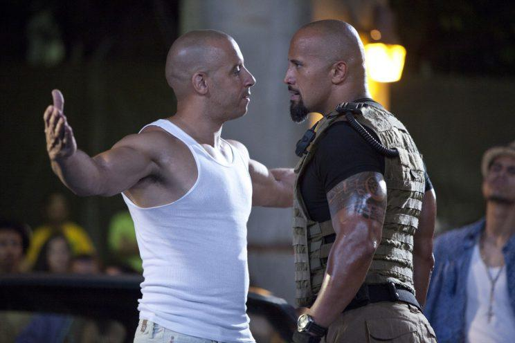 Feud over... could Vin and The Rock be talking again? Credit: Universal